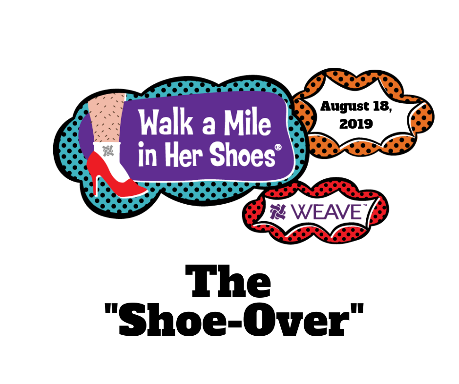 "The ""Shoe-Over"" August 18, 2019 written in black, red high heel, WEAVE logo"